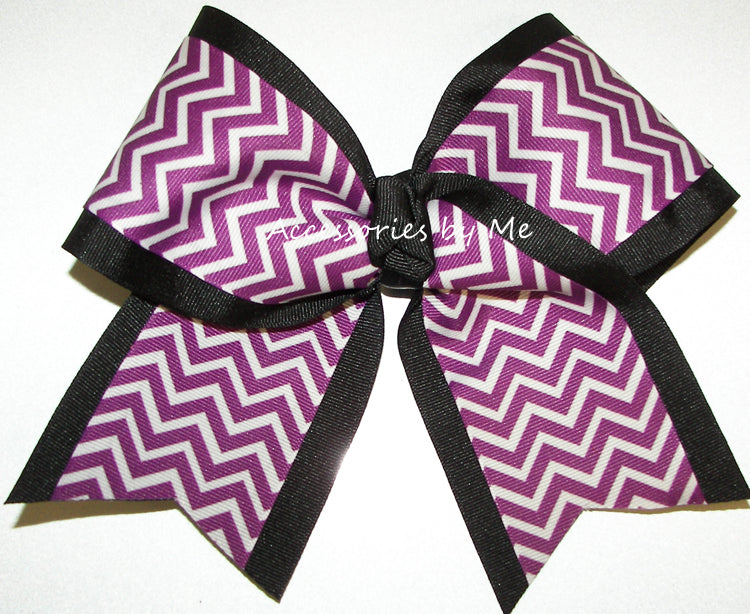 Purple Black Chevron Big Cheer Bow