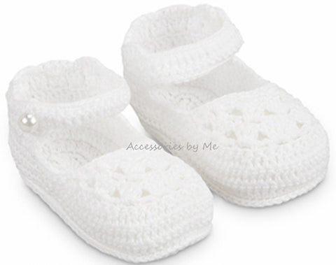Christening Mary Jane Crochet Bootie Shoe