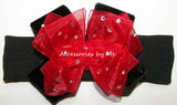 Glitzy Red Black Velvet Bow Baby Headband - Accessories by Me