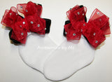 Glitzy Red Black Organza Velvet Bow Socks - Accessories by Me