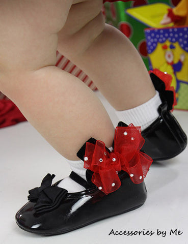 Glitzy Red Black Organza Velvet Bow Socks