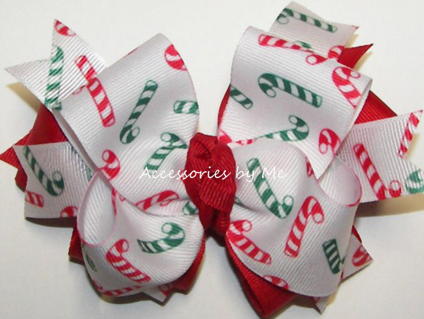 Christmas Candy Cane Red Green Hair Bow
