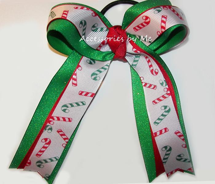christmas cheer bow candy cane hair clip candy red green hair ribbon accessories by me