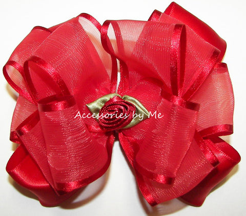 Fancy Red Organza Satin Floral Hair Bow