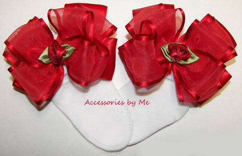 Frilly Red Organza Satin Floral Bow Socks