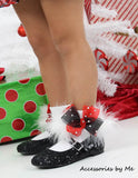 Glitzy Red Black Organza Marabou Bow Socks - Accessories by Me