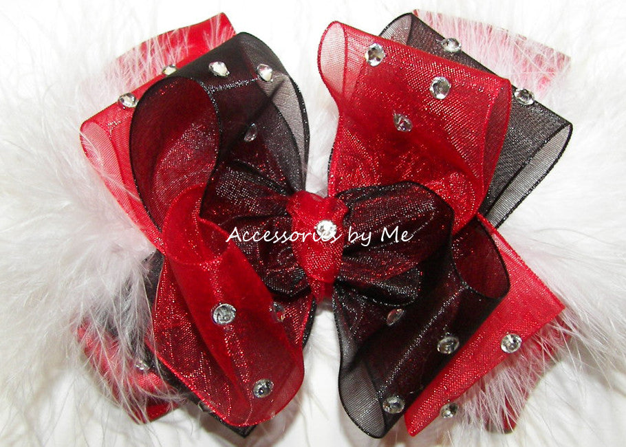 Glitzy Red Black Marabou Hair Bow - Accessories by Me