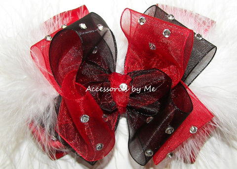 Glitzy Red Black Marabou Hair Bow