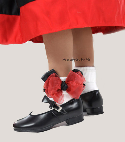 Red Black Organza Satin Bow Socks