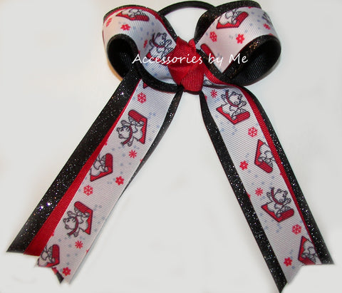 Christmas Red Black Sleigh Bears Cheer Bow