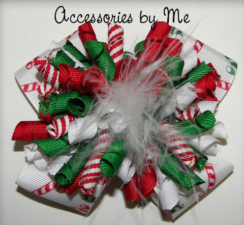 Christmas Red Green Korker Hair Bow