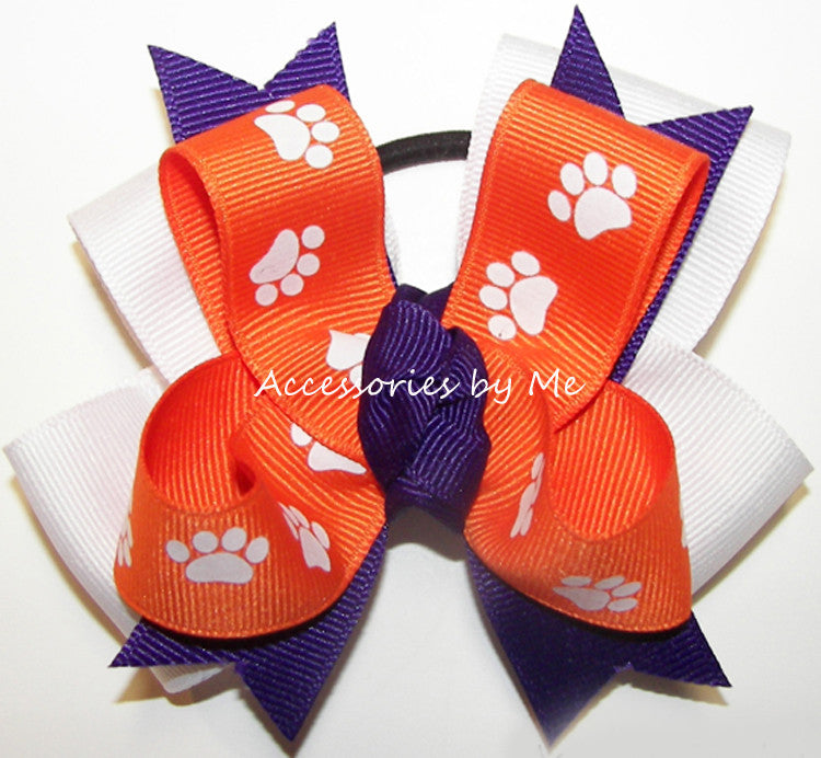 Clemson Tigers Pigtail Spirit Cheer Bow - Accessories by Me