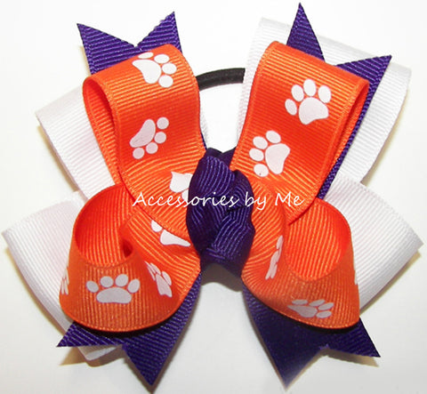 Clemson Tigers Pigtail Spirit Cheer Bow