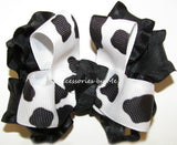 Frilly Cow Print Black White Hair Bow - Accessories by Me