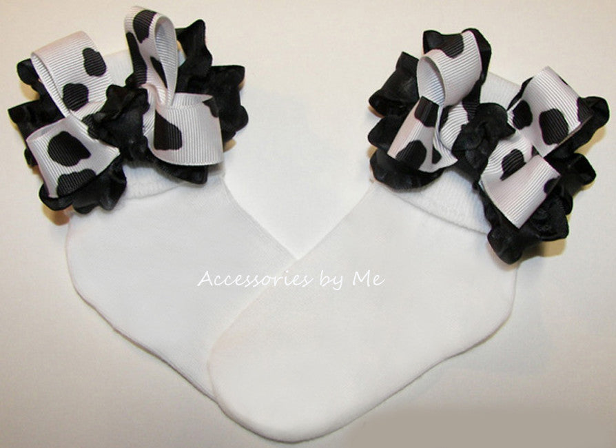 Frilly Cow Print Black White Ruffle Bow Socks - Accessories by Me