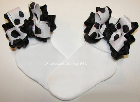 Cow Print Ruffle Bow Socks