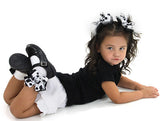 Frilly Black & White Cow Print Bow Socks - Accessories by Me