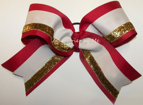 Red Ivory Gold Big Cheer Bow