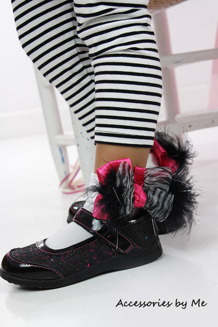 Frilly Zebra Organza Hot Pink Marabou Bow Socks - Accessories by Me