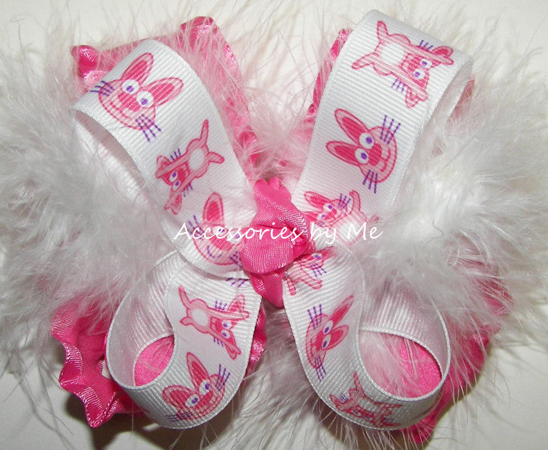 Frilly Pink Easter Bunny Marabou Hair Bow - Accessories by Me