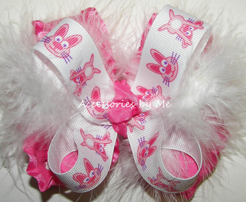 Frilly Pink Easter Bunny Marabou Hair Bow