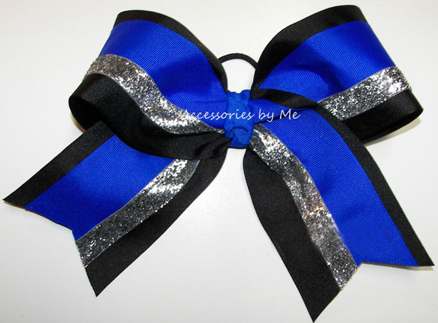 Blue Black Silver Big Cheer Bow - Accessories by Me
