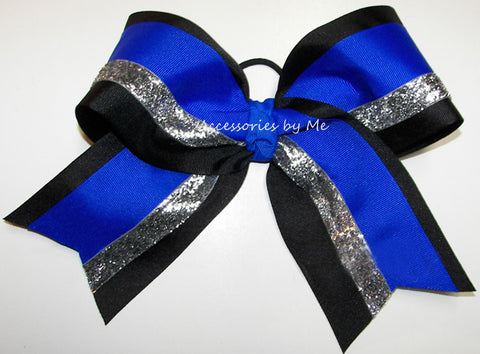 Blue Black Silver Big Cheer Bow