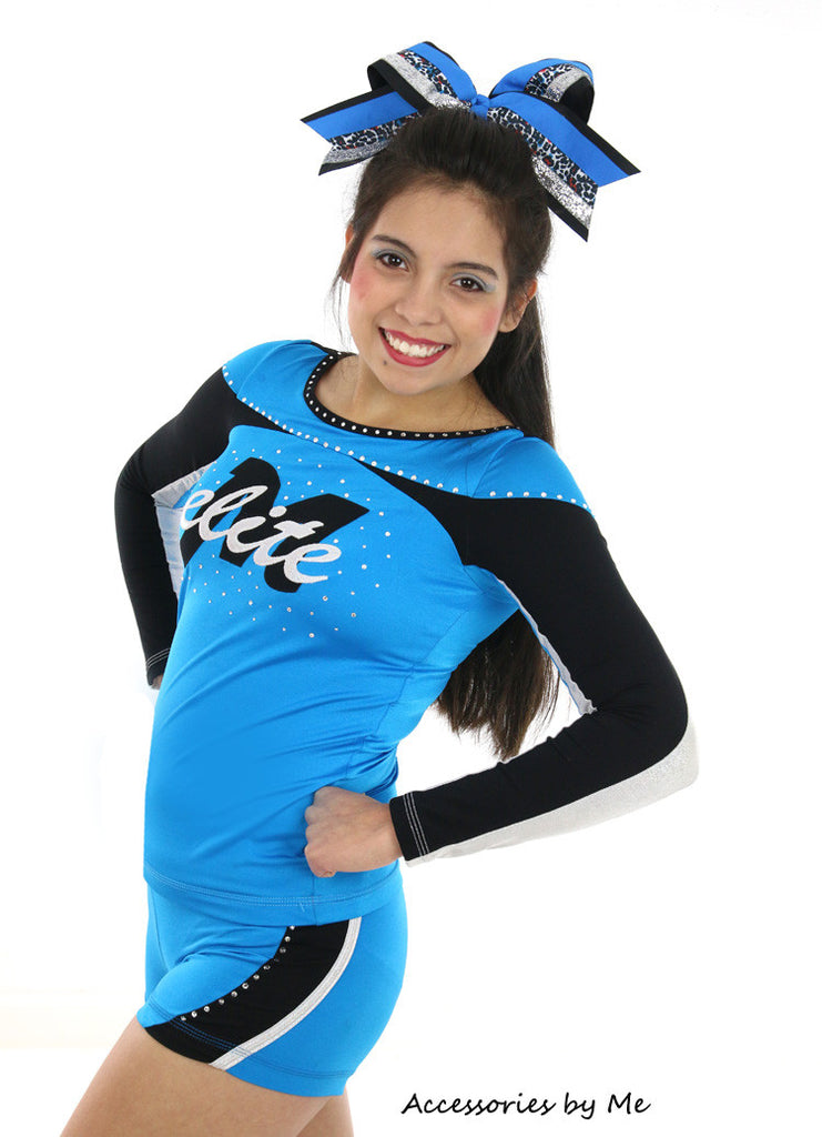 Leopard Cheetah Blue Black Big Cheer Bow - Accessories by Me