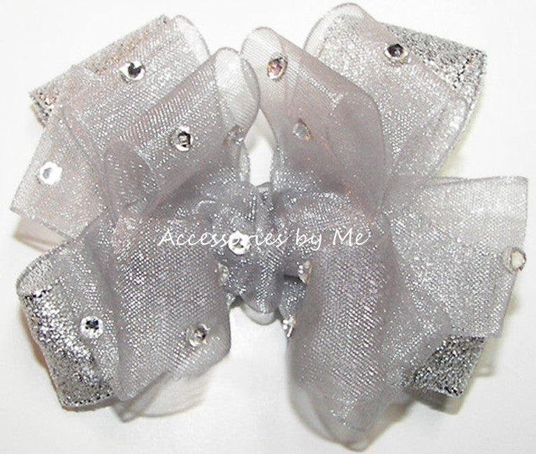 Glitzy Silver Organza Lame Hair Bow - Accessories by Me