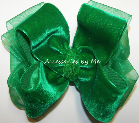 Emerald Green Velvet Organza Hair Bow