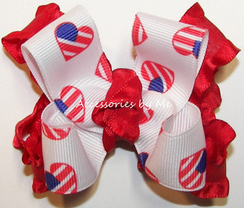 Patriotic US Flag Red Ruffle Hair Bow