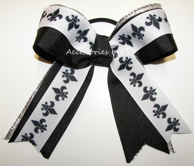 Fleur de lis Black Silver Metallic Ponytail Holder Bow
