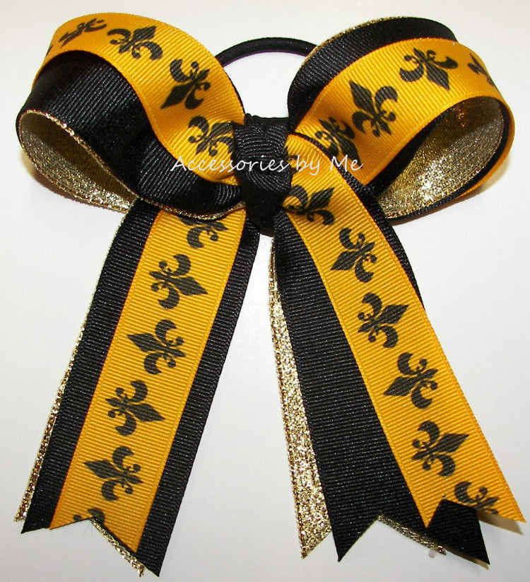 Fleur de lis Black Gold Metallic Ponytail Holder Bow