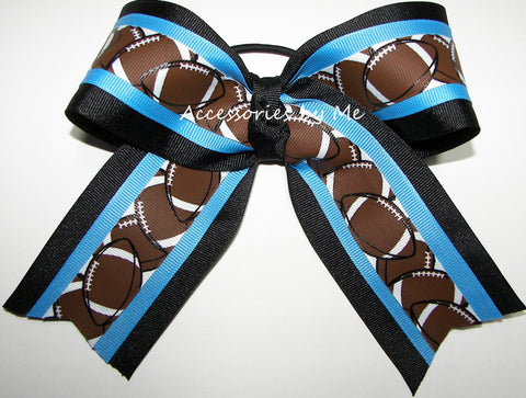 Football Blue Black Big Cheer Bow