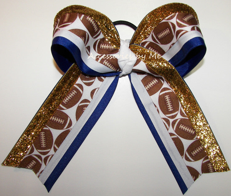 Football Royal Blue Gold Big Cheer Bow - Accessories by Me
