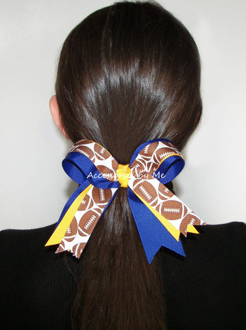 Football Ponytail Holder Bow