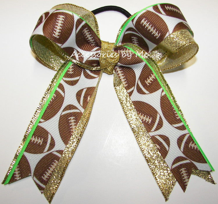 Football Neon Green Gold Metallic Ponytail Holder Bow