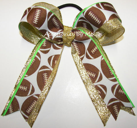 Football Neon Green Gold Ponytail Holder Bow