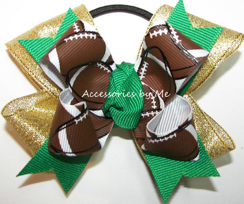 Football Ribbons Pigtail Spirit Cheer Bow