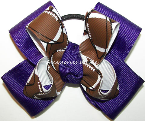 Football Pigtail Hair Bow