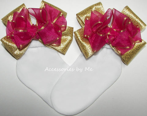 Fuchsia Pink Gold Organza Metallic Bow Socks