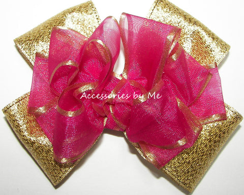 Fuchsia Pink Gold Organza Satin Metallic Hair Bow