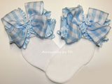 Frilly Gingham Plaid Ruffle Bow Socks - Accessories by Me