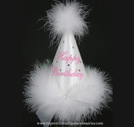 Girls Birthday Princess White Marabou Party Hat - Accessories by Me