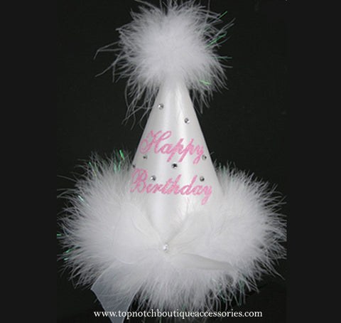 Girls Birthday Princess White Marabou Party Hat