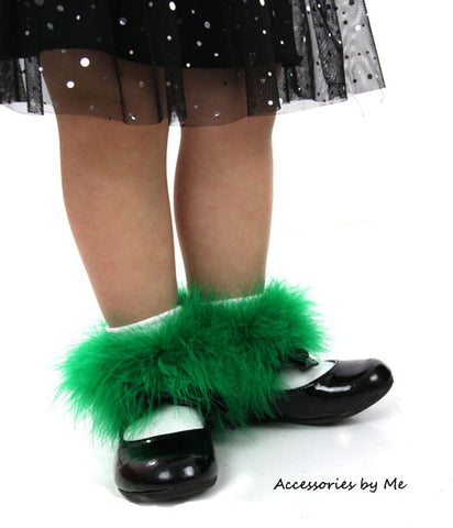 Green Marabou Feather Trim White Socks