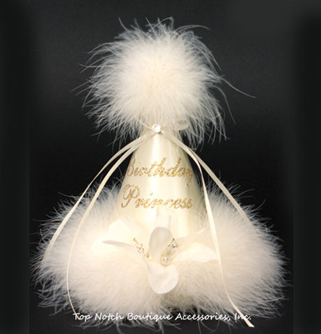 Girls Birthday Party Hat Princess Ivory Marabou
