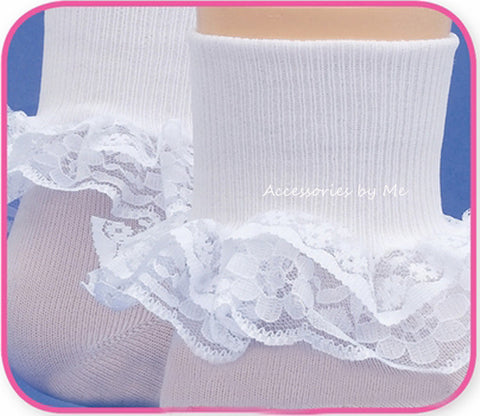 Girls White Lace Trim Pageant Socks