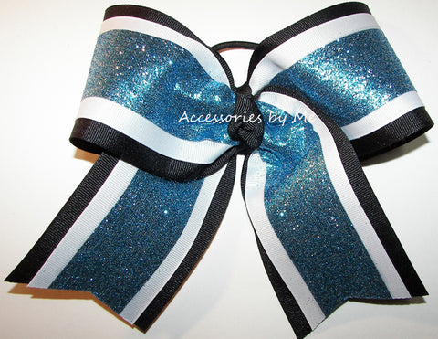 Sparkly Blue Black White Big Cheer Bow
