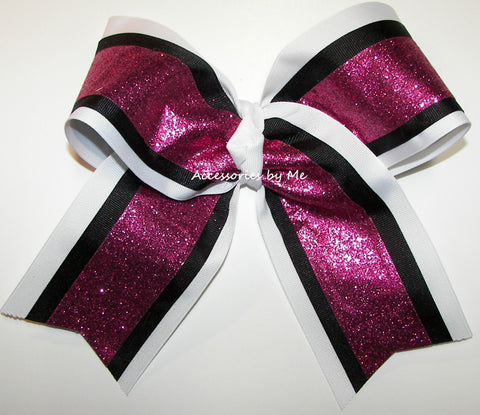 Sparkly Hot Pink White Black Big Cheer Bow